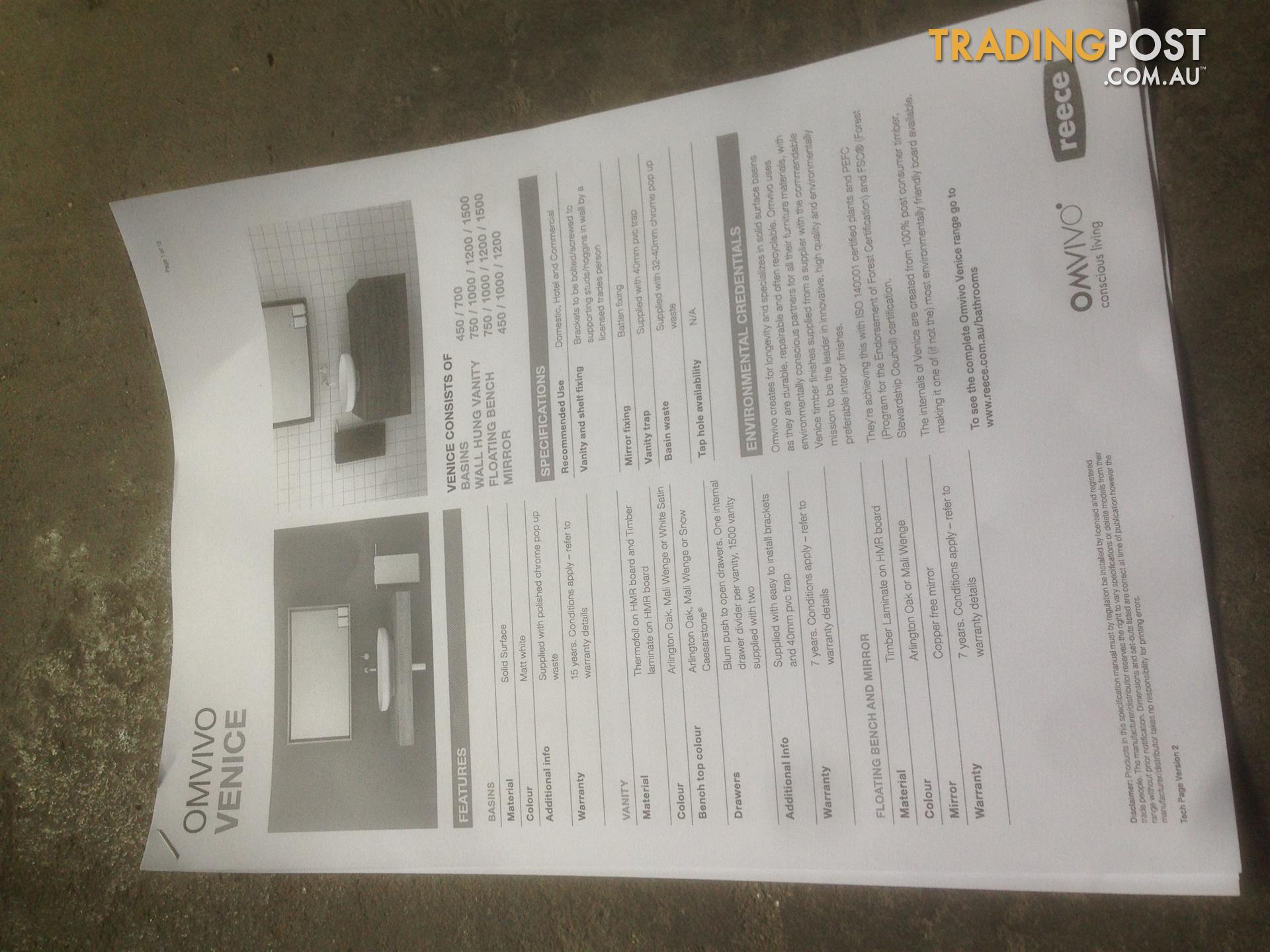 OMVIVO VENICE 450 COUNTER TOP BASIN BRAND NEW SELLING FOR $600 EACH ...