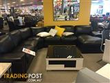 Genuine Black Leather L-Shaped Couch