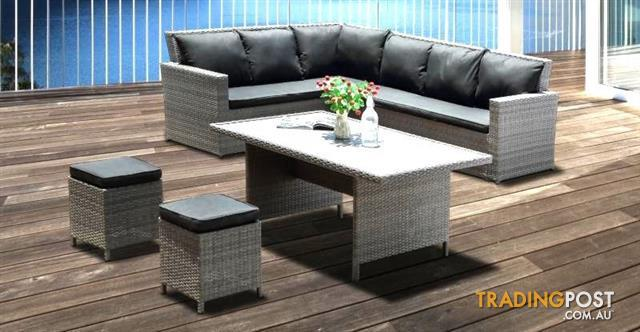 Groovy Outdoor Furniture Miami Sofa Dining Setting W Ottomans Table Sale Interior Design Ideas Clesiryabchikinfo