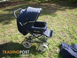 BERTINI BIDWELL 4 WHEEL STEERABLE STROLLER INFANT PRAM BABY STROLLER