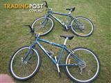 TWIN BIKES TWO IDENTICAL BICYCLES ORBIT QUANTUM MOUNTAIN BIKES