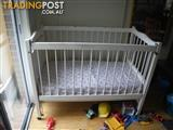 REGENT NURSERY HAND MADE COT WOODEN WHITE & MATTRESS BABY COT
