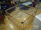 JOLLY KIDZ SMART PLAYPEN SQUARE NATURAL WOOD BABY SAFETY PLAY PEN INFANT SAFETY FENCE