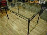 INSIDE OUTSIDE GLASS TABLE WROUGHT IRON DETACHABLE LEGS