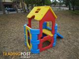 TWO PLASTIC CUBBY HOUSES & ROCKER TABLE INDOOR TOYS OUTDOOR TOYS