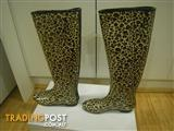 DESIGNER WOMENS GUMBOOTS LEGGY LEOPARD WELLIES UK SIZE 5