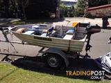3.3m tinny With 3.3hp johnson outboard and brand new trailer