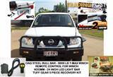 NAVARA D40 BULL BAR COMBO, INCLUDES: BULLBAR 9000LB TMAX WINCH REMOTE LED LIGHT BAR RECOVERY GEAR COMBO