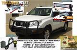 PRADO 150 BULL BAR COMBO, INCLUDES: BULLBAR 9000LB TMAX WINCH REMOTE LED LIGHT BAR RECOVERY GEAR COMBO