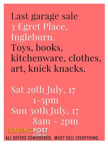 FINAL Garage Sale - Sat 29th (1-5pm) & Sun 30th (8am - 2pm) - Ingleburn