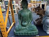 STATUE SITTING BUDDHA BOWL (2BLK RUSTIC/2GREEN RUSTIC)