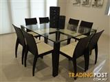 Glass Dining Table with Eight Chairs