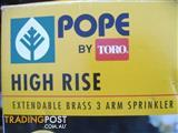 POPE HIGH RISE EXTENDABLE BRASS 3 ARM SPRINKLER NEW IN BOX