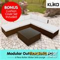 Rattan Outdoor 6pc Corner Bistro Furniture Set - Brown