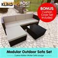 Rattan Outdoor 5pc Reversible Bistro Furniture Set - Black