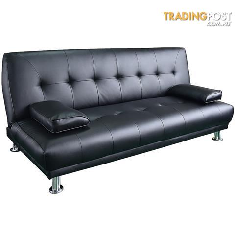 Klika Manhattan 3 Seater PU Sofa Bed Couch Lounge Futon   Black