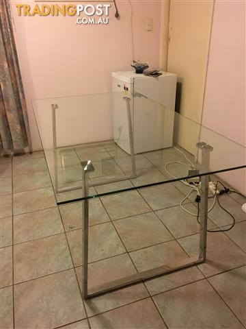 Oblonge Glass table, four chairs still in box