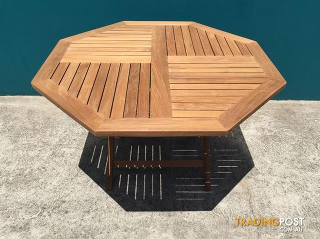 outdoor furniture solid teak wood octagonal folding table 120cm for