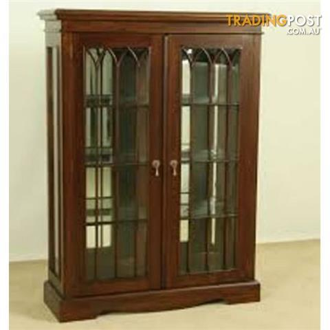 Solid Mahogany Display Cabinet Vitrine With Glass Doors For Sale