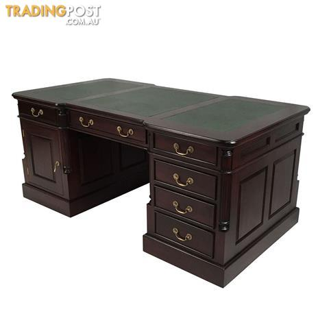 Solid Mahogany Wood Office Executive Partners Desk For