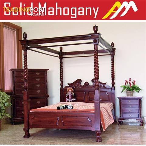 Solid mahogany wood chippendale 4 poster bed queen king size