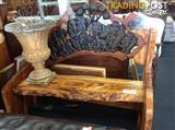 Hand carved timber bench seat