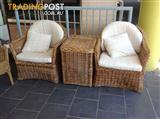 Real wicker cane outdoor chairs and side table