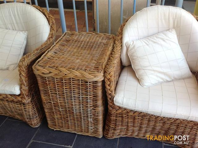 Real-wicker-cane-outdoor-chairs-and-side-table