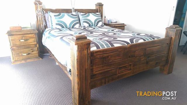 Rustic queen sized timber bed and bedroom suite