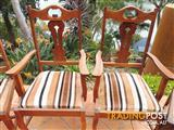 6 Antique, high back, oak dining chairs.
