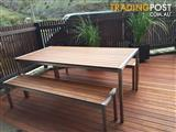 Outdoor Setting in Merbau Timber with Stainless Steel Frame