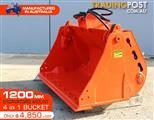 4 in 1 Bucket to suit 5 to 8 Ton TAKEUCHI KOBELCO BOBCAT Excavators [1200 mm]