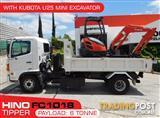 Hino FC 1018 500 Series Tipper with Kubota U25 Excavator