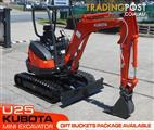 #2162 KUBOTA U25 2.5Ton Compact Excavator [Only 3.8 hours] with Hydraulic Quick Hitch