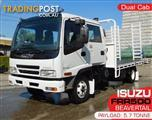 Tray-Top / Flatbed Truck ISUZU FRR550 with ramps , Dual Cab