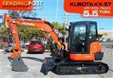 #2180B KUBOTA 5.5Ton U57 KX-57 Excavator [8 hours] KX57 Steel Tracks