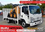 COMBO ISUZU NPR300 BEAVERTAIL Truck + CASE SR130 SKID STEER LOADER