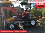 Consignment Combo package - Kubota U25 2.5T mini Excavator & attachments package on 3.5 TON PLANT TR