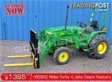 DIGGA 1600kg Agricultural Loader Pallet Forks to suit John Deere Tractors
