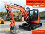 #2148B KUBOTA 5.5Ton U57 KX-57 Excavator [7.2 hours] KX57 Steel Tracks with Rubber pads
