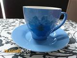 Blue with flower tea set
