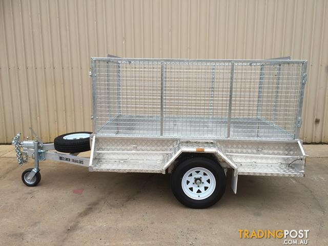 KESSNER TRAILERS - ALUMINIUM 7X5 SINGLE AXLE TRAILER WITH BRAKES AND CAGE