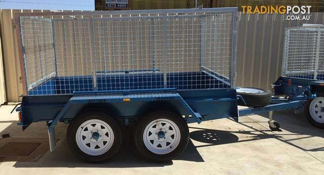 KESSNER TRAILERS 8X5 HEAVY DUTY TANDEM BOX TRAILER WITH GALVANISED CAGE