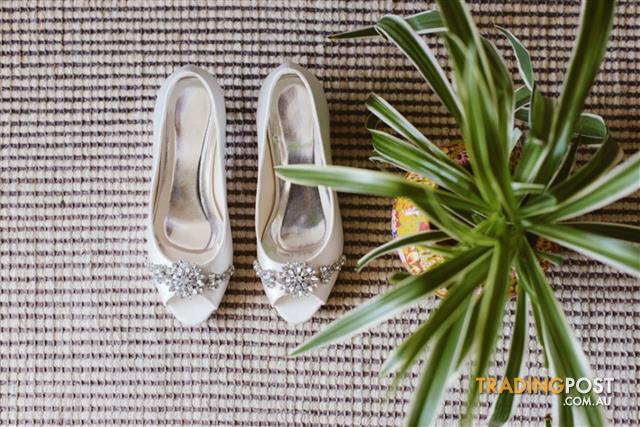 Wedding - Women's Satin Peep Toe Bridal Shoes with Rhinestone