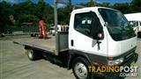 2000 MITSUBISHI CANTER TRAY WITH CERTIFIED CRANE
