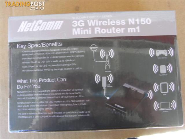 NEW-NetComm-3GM1Wn-3G-Wireless-N150-Mini-Router-m1-RRP-139-95