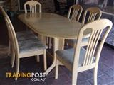Timber Dining RoomTable (extendable) and 6 Chairs